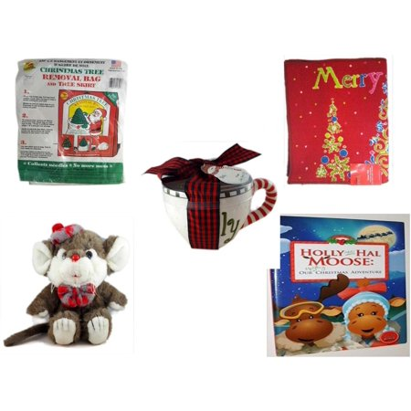Christmas Fun Gift Bundle [5 Piece] -  Tree Removal Bag And Tree Skirt - Merry  Door Mat  17.5