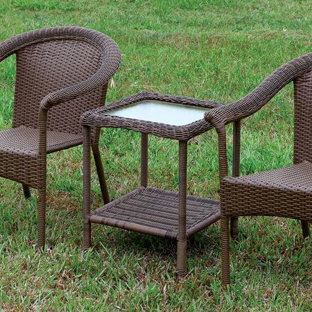 Wicker End Table (Furniture of America  Dahlee Espresso Wicker Inspired 1-shelf End Table )
