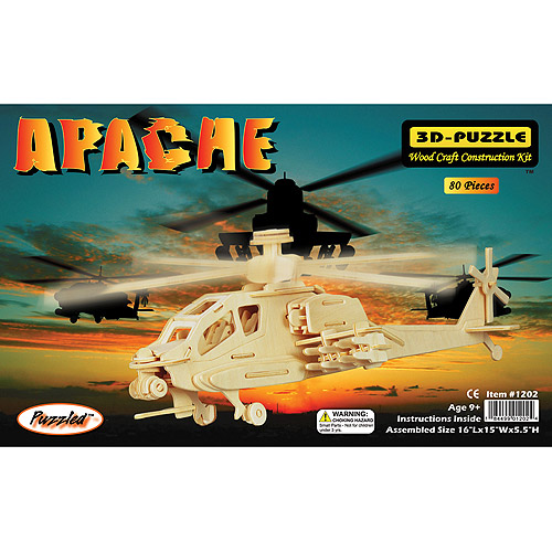 Puzzled 3D Puzzle Wood Craft Construction Kit, Apache Helicopter by Puzzled