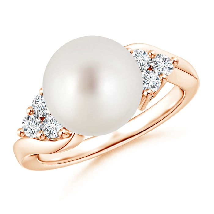 Angara South Sea Cultured Pearl Bypass Ring with Trio Diamond At80VEjuyb