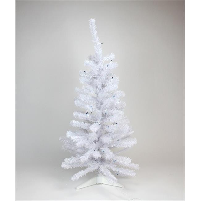 NorthLight 3 ft.  x 22 inch White Iridescent Pine Tree, 85 Tips, 50 Blue Lights