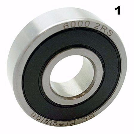 One (1) 6000-2RS Sealed Bearing 10x26x8 Ball Bearing / Pre-Lubricated, Static Load Capacity: 440 lb By BC Precision