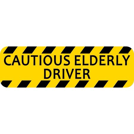 10in x 3in Cautious Elderly Driver Bumper Sticker Vinyl Window Decal (Best Cars For Elderly Drivers)