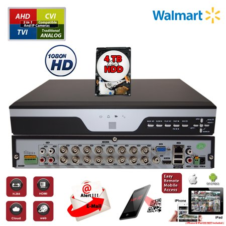16 Channel H264 Dvr - Evertech 16 Channel Digital Video Recorder 4TB HDD h264 Hybrid 4in1 AHD/TVI/CVI and Analog Compatible Remote Smartphone Access Security Video Recorder