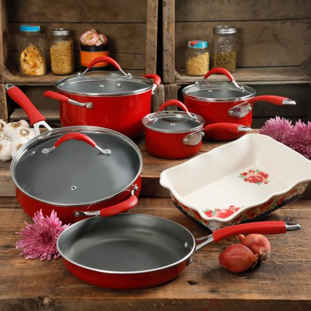 The Pioneer Woman Frontier Speckle 10-Piece Cookware Set, Red