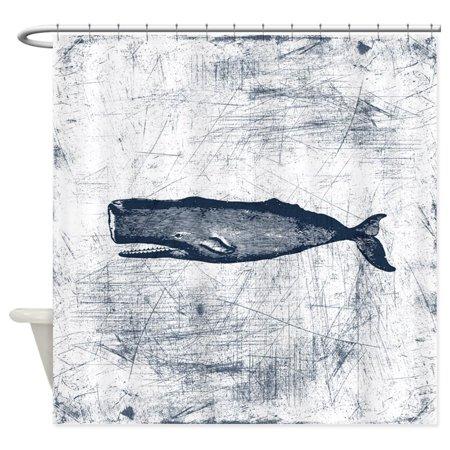 cafepress vintage whale dark blue unique cloth shower curtain. Black Bedroom Furniture Sets. Home Design Ideas