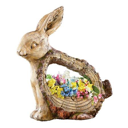 Rabbit Garden Animal Statue with Planter with Carved Tree Look - Outdoor Decorative Accent