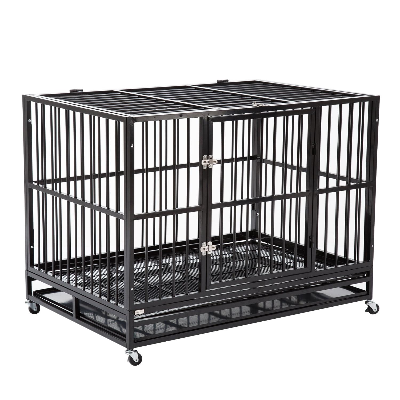 New 48� Pet Dog Cage Black Crate Heavy Duty Metal Pet Cannel Playpen w Wheels by