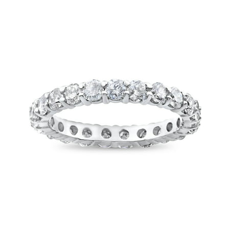 - 2ct Diamond Eternity Wedding Ring Womens Stackable Solitaire Band 14K White Gold