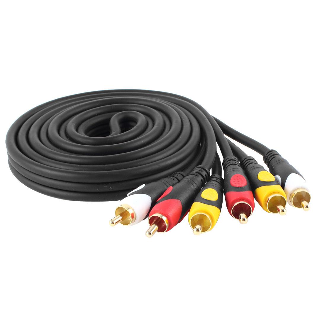 Black Triple 3 Male RCA Composite Audio Video DVD AV 1.8M Cable Cord