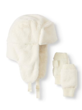 Scoop Faux Fur Trapper with Fingerless Glove Gift Set Women's