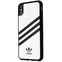 Adidas 3-Stripes Snap Case for Apple iPhone XS Max - White w/ Black Stipes (Refurbished)