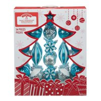 Holiday Time Shatterproof Ornaments, 54-Count, Blue Silver White
