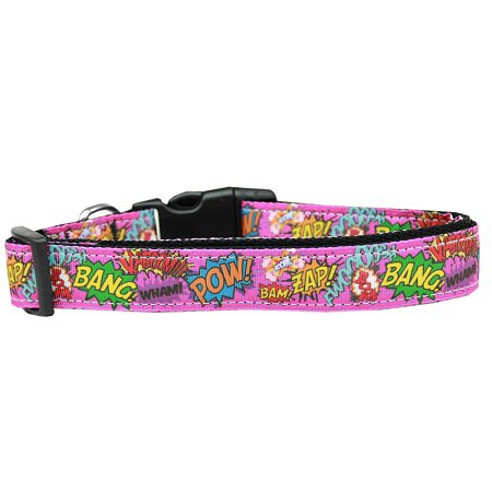 Superhero Sound Effects Pink Nylon Dog Collar Xs