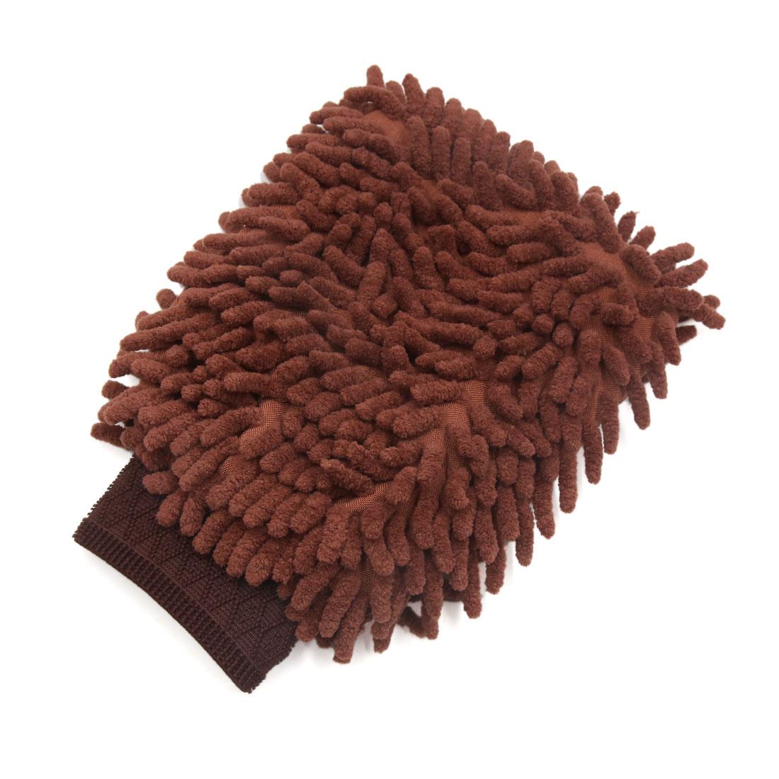 Protective Microfiber Chenille Car Wash Glove Anti Scratch for Car Auto Brown