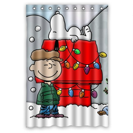 DEYOU Snoopy Shower Curtain Polyester Fabric Bathroom Size 48x72 Inches