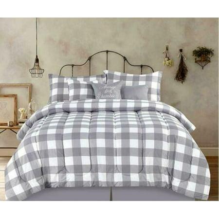 Country Farmhouse Rustic Plaid Buffalo Check Gray & White Full 7 Piece Comforter Set (Primitive Country Comforter Set)