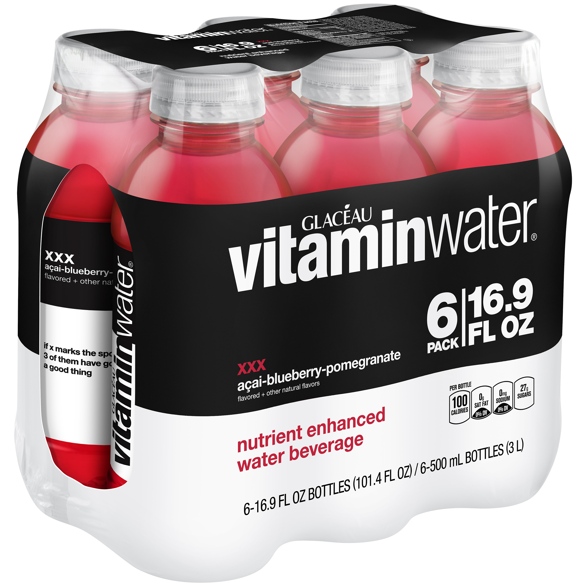vitaminwater XXX, Acai-Blueberry-Pomegranate 16.9 fl oz, 6 Pack