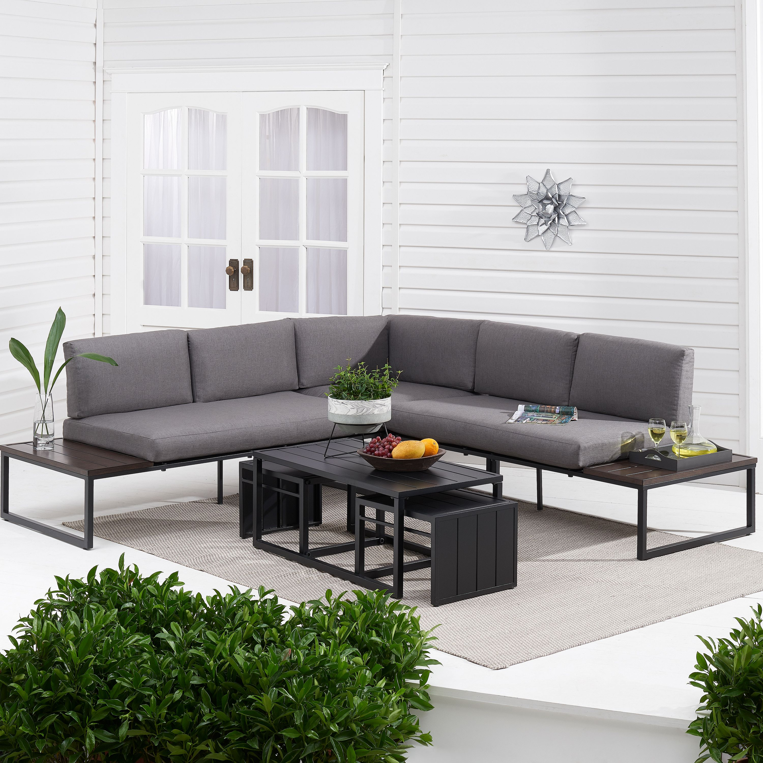 Better Homes & Gardens Kolton 3-Piece Patio Sectional Set with Gray Cushions