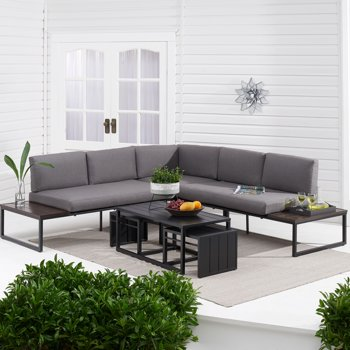 Better Homes & Gardens Kolton 3-Piece Patio Sectional Set w/ Gray Cushions