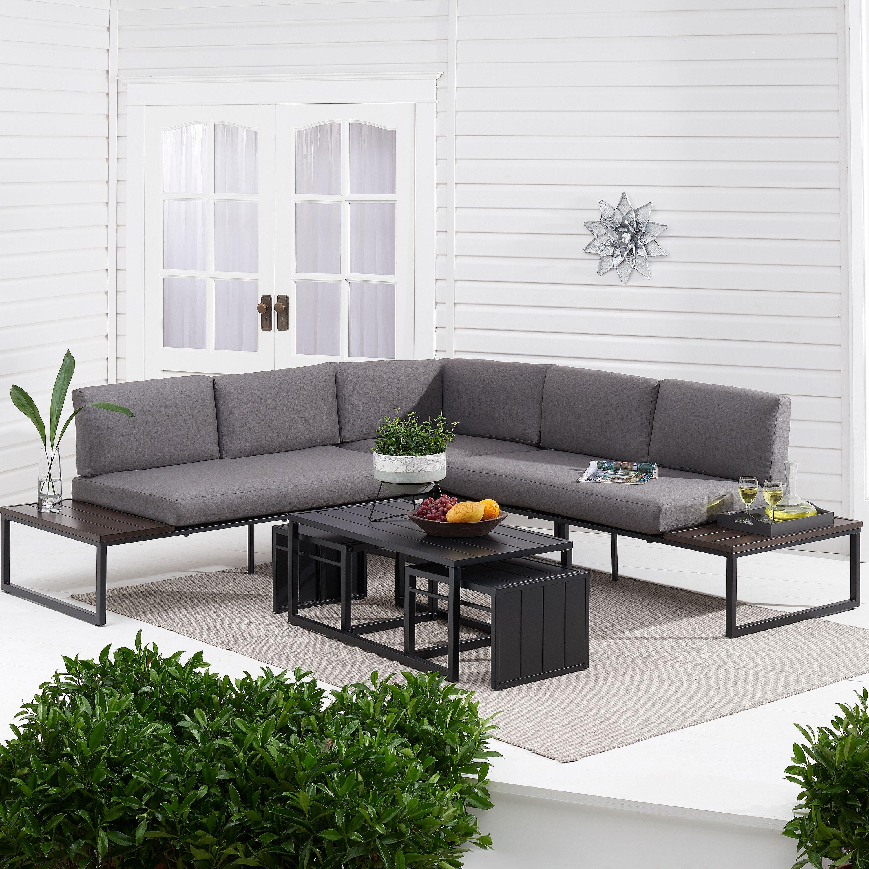 Better Homes & Gardens Kolton 3-Piece Patio Sectional Set w/ Gray Cushions