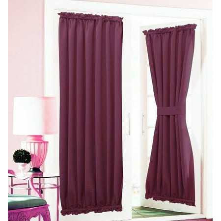 1 Pc Insulated Heavy Thick French Door Thermal Blackout Rod Pocket Curtain Panel With