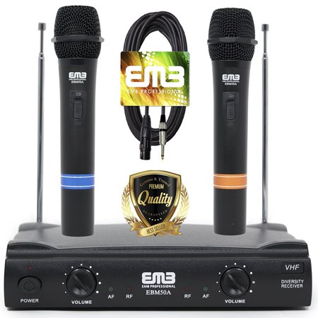 EMB VHF Professional Dual Wireless Handheld HIFI Microphone Long Range with XLR to 1/4 Cable Included – Perfect for Church/Home/Outdoor/Karaoke Party – (Best Long Range Wireless Microphone)