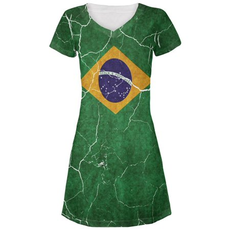 Distressed Brazilian Flag Juniors V-Neck Beach Cover-Up Dress (Brazilian Dress Up Ideas)