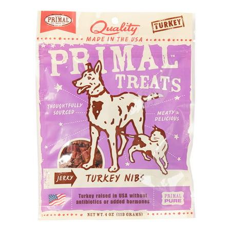 Primal Pet Foods Grain-Free Jerky Turkey Nibs Dry Dog & Cat Treat, 4 oz Real Meat Jerky Cat Treats