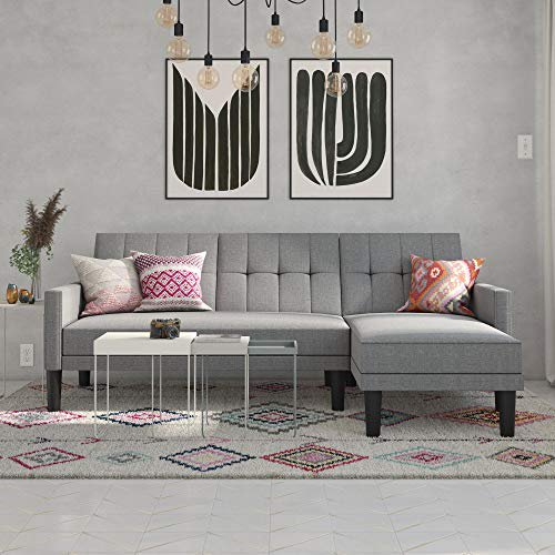 DHP Haven Small Space Sectional Sofa Futon in Light Grey Linen