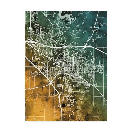 Trademark Fine Art 'Iowa City Map Teal Orange' Canvas Art by Michael Tompsett (Iowa Art)