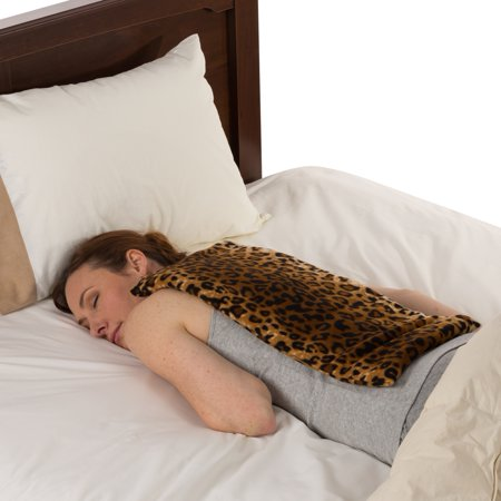 Sunny Bay Extra Large Body Heating Wrap, Back Pain Relief, Moist Heat Bean Bag, Washable Fleece Cover, Leopard Skin Print