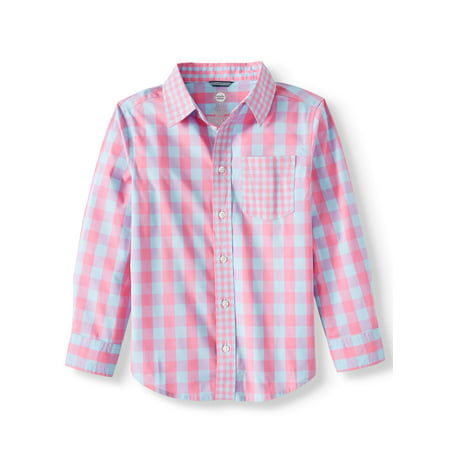 Wonder Nation Long Sleeve Stretch Button Up Gingham Shirt (Little Boys, Big Boys, & Husky)