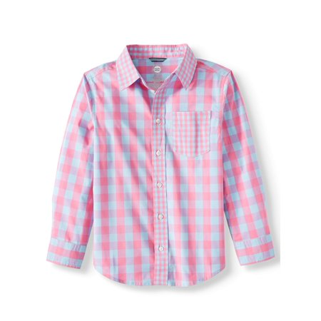 Long Sleeve Stretch Button Up Gingham Shirt (Little Boys, Big Boys, & (Boys Long Sleeve Denim Shirt)