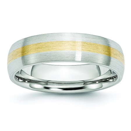 Cobalt 14k Gold Inlay Satin 6mm Band Size 10 - image 4 de 4