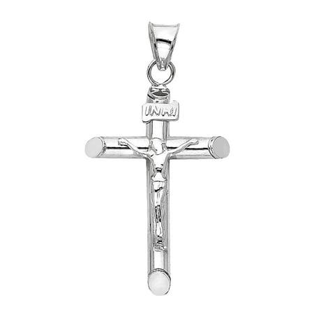 14k White Gold Cross Crucifix necklace Pendant 28mm Long