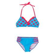 Big Chill Little Girls' Polka Dots and Stripes Bikini Two Piece Swimsuit Set