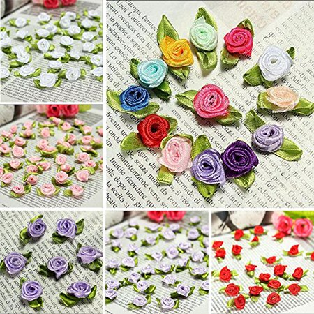 Fangfang Mini Roses Tiny Ribbon Flowers Assorted for DIY Crafts Appliqu Sewing 100 PCS Random