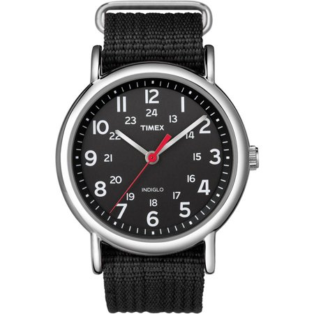 Timex Weekender Watch, Black Nylon Slip-Thru Strap