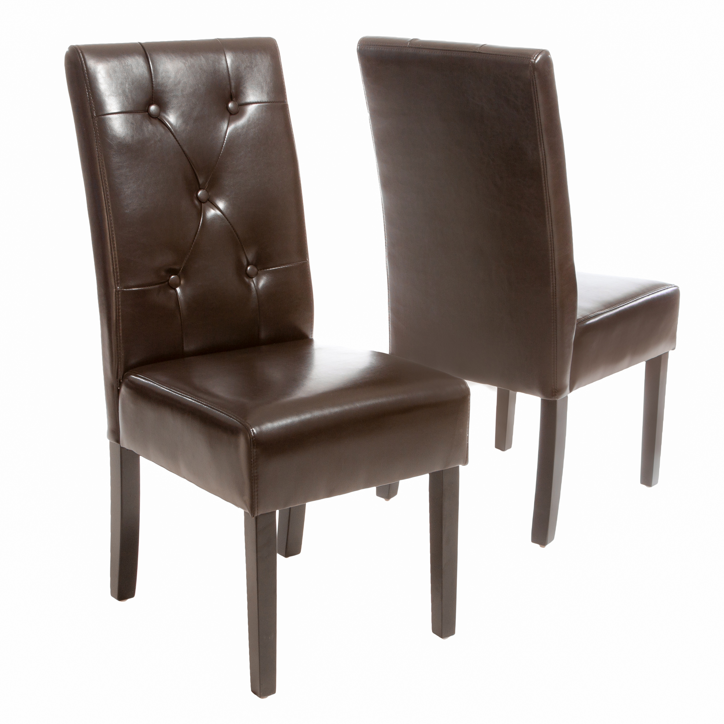 Tate Brown Bonded Leather Dining Chair (Set of 2)