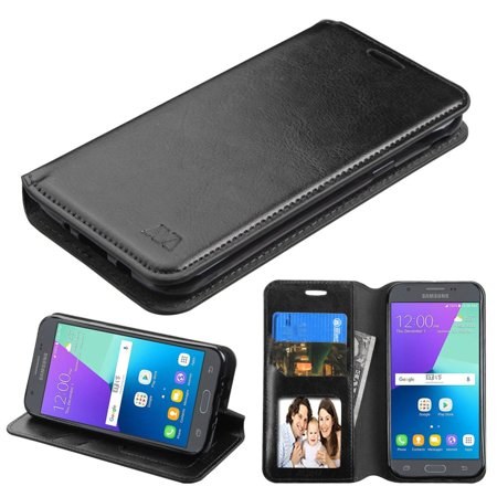 Galaxy J3 Luna Pro case by MyBat Folio Leather Wallet Fabric Case with Stand & Photo Display For Samsung Galaxy J3 (2017) - Black (Photos D'halloween 2017)