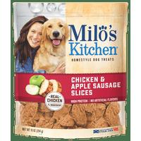 Milo's Kitchen Chicken & Apple Sausage Slices Dog Treats, 10-Ounce