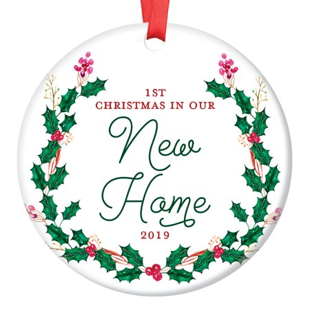 New House Ornament 2019, 1st Christmas in Our New Home Dated Year, First Homeowners Ceramic Present Congratulations Real Estate Agent 3