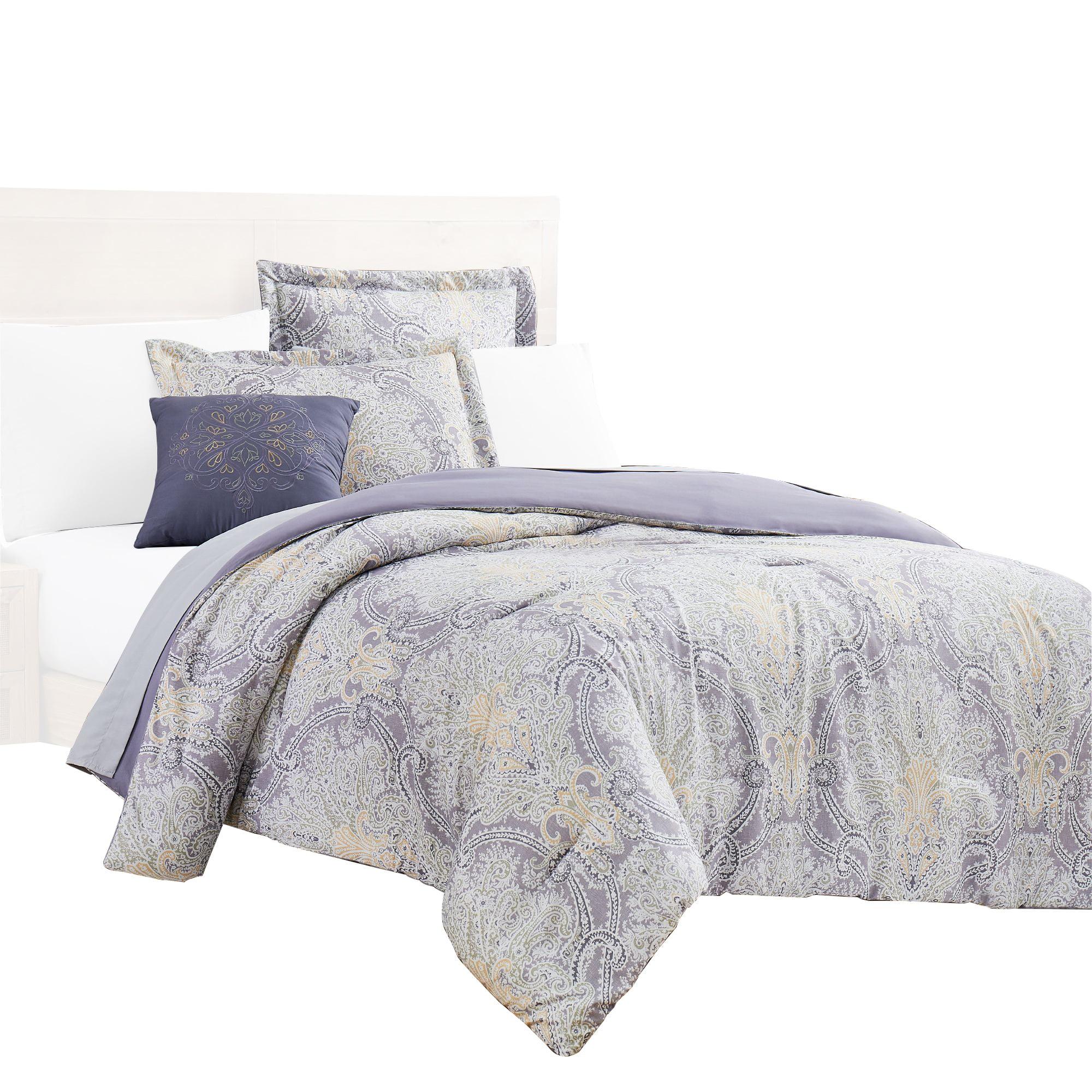 Chania 8 Piece Full Bed Set With Paisley Print The Urban Port Purple And White Walmart Com Walmart Com