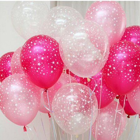 Partywoo 30ct Assorted Fuchsia Pink Clear Around Star Balloons