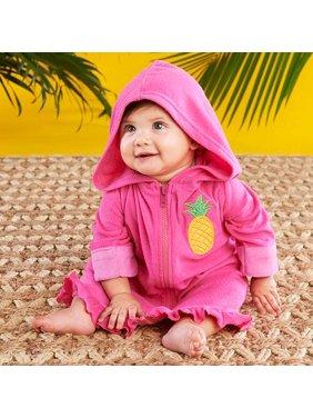 Tropical Pineapple Hooded Beach Zip Up