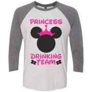 "Womens Drinking Raglan ""Princess Drinking Team"" Disney Party 3/4 Sleeve Baseball Tee Gift X-Large, White/Gray"