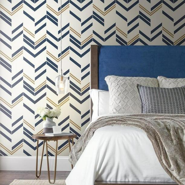 Roommates Blue Chevron Stripe Peel Stick Wallpaper Walmart Com Walmart Com
