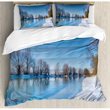 Winter Queen Size Duvet Cover Set, Snow Covered Frozen Winter with Clear Open Sky Photograph Seasonal Image Print, Decorative 3 Piece Bedding Set with 2 Pillow Shams, Blue White Brown, by Ambesonne ()