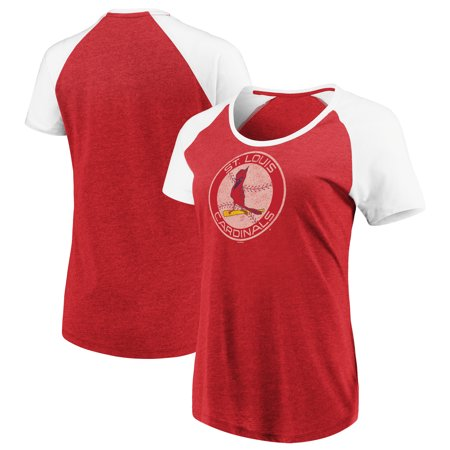Women's Majestic Heathered Red/White St. Louis Cardinals Cooperstown Collection Points Earned Raglan (St Louis Rams Replica Helmet)
